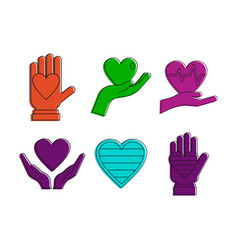 heart in hand icon set color outline style vector image