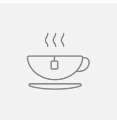 Hot tea in cup line icon vector image