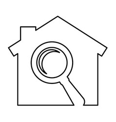 House with magnifying glass silhouette isolated vector