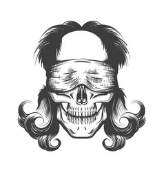 human skull with blindfold tattoo vector image