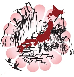 Interpreted the image of Japan vector