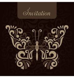 Invitation with stylized butterfly vector