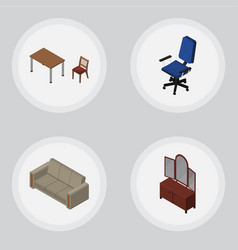 Isometric design set of couch chair office and vector