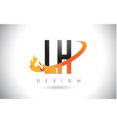 Lh l h letter logo with fire flames design and vector