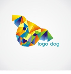 Logo dog consist of colorful triangles vector