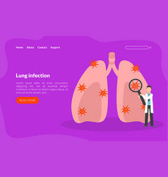 Lung infection landing page template pulmonary vector