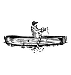 Man on rowing boat engraving vector