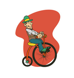 Man ride old bike cartoon vector