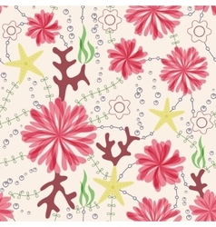 Marine flowers vintage seamless pattern vector