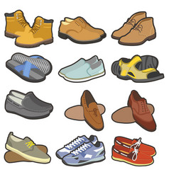 men shoes and boots footwear collection for vector image