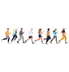 Men women girls boys students in sportswear vector