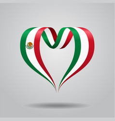 Mexican flag heart-shaped ribbon vector
