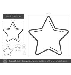 Music star line icon vector