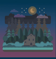 night forest landscape with a house vector image