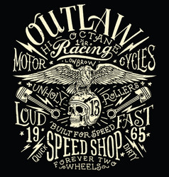 Outlaw motors vintage t-shirt graphic vector
