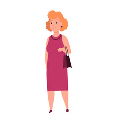 over size woman adult lush lady in festive clothe vector image