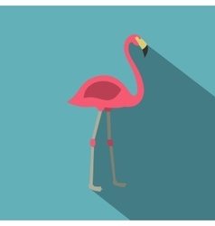 Pink flamingo icon flat style vector