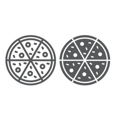 pizza line and glyph icon italian and food vector image