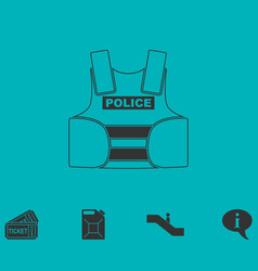police flak jacket or bulletproof vest icon flat vector image