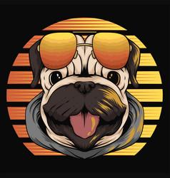 pug dog retro sunset vector image