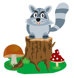 Racoon on hemp tree vector
