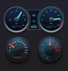 Realistic car dashboard speedometers with dial vector