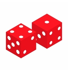 Red dice isometric 3d icon vector