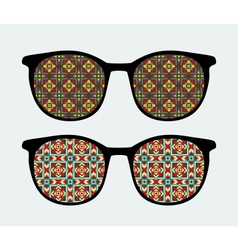 Retro sunglasses with ornament reflection in it vector