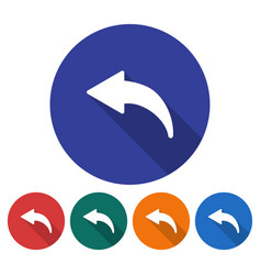 round icon of left curved arrow flat style with vector image