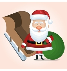 santa claus card with sleigh and bag vector image