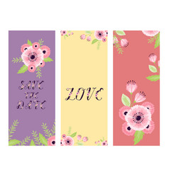 save the date love flower valentine day vector image