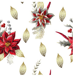 seamless pattern with christmas flowers vector image