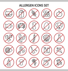 Set of allergen free products icons insects vector