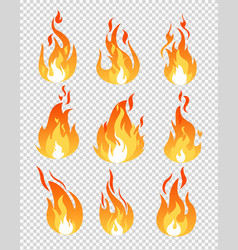Set of fire flames icons vector
