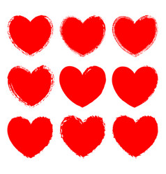 set of monochrome red grunge art hearts vector image