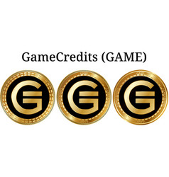 Set of physical golden coin gamecredits game vector