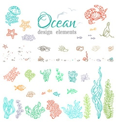Set of underwater seaocean design elements vector