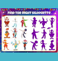 shadow match game circus clowns puzzle boardgame vector image