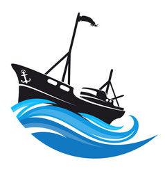 ship sails on waves silhouette vector image