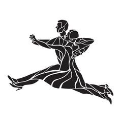 silhouettes couple dancing ballroom dance vector image