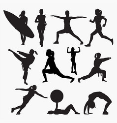 silhouettes woman activity vector image