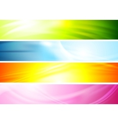 Smooth wavy abstract colorful banners vector