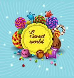 sweet world cartoon logo children vector image