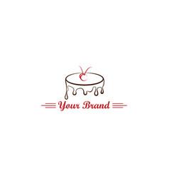 Tart cake simple logo bread mascot shop bakery vector