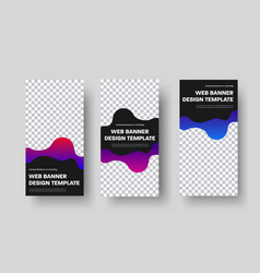 Templates for vertical web banners with a black vector
