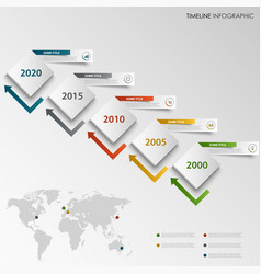 time line info graphic with abstract design cubes vector image