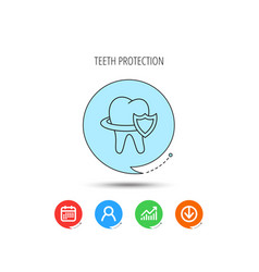 tooth protection icon dental shield sign vector image