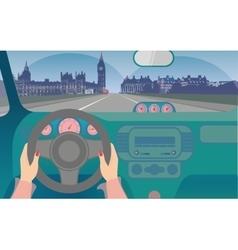 Travel by car to London vector
