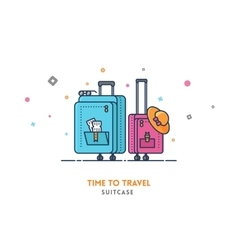 Travel concept Suitcase flat outline vector