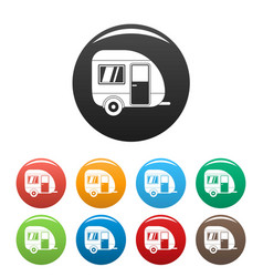 travel trailer icons set color vector image